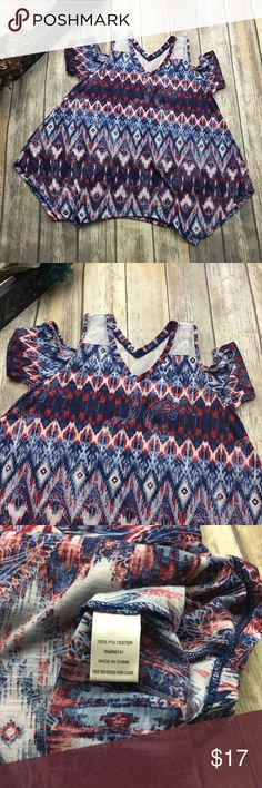 Tru Self PATRIOTIC Boho Cold Shoulder Top Patriotic colored boho style cold shoulder top. Size large . In excellent used condition. Fish net design straps. 26 inches long. 19 inches arm pit to arm pit without stretching material laying flat. Tru Self Tops