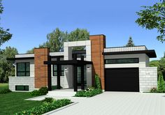 This lovely Bungalow style home with Modern influences (House Plan has 1421 square feet of living space. The 1 story floor plan includes 3 bedrooms. Modern Bungalow House, Bungalow Homes, Bungalow House Plans, Cottage House Plans, Contemporary House Plans, Modern House Plans, Modern House Design, Modern Home Exteriors, Modern Exterior House Designs