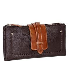 Love this Chocolate Crisscross Double-Zip Leather Wallet by Nino Bossi Handbags on #zulily! #zulilyfinds
