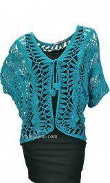 KC Viviette Vintage Crochet Bolero In Aqua OR Cream