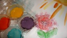 Make your own watercolor    Ingredients:  * Baking soda  * White vinegar  * Light corn syrup  * Cornstarch  * Half-dozen egg carton (or another container of your choice)  * Assorted food coloring 4-pack