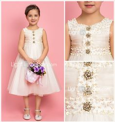 A-line Princess Jewel Tea-length Tulle Flower Girl Dress  LOVE IT