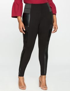 Plus Size Miracle Flawless Pieced Faux Leather Legging * Be sure to check out this awesome product.
