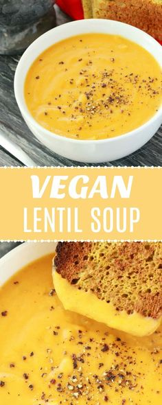 This filling and satisfying soup is just high in protein, gluten-free, super easy, and simply delicious! Vegan Potato Soup, Vegan Pumpkin Soup, Vegan Lentil Soup, Lentil Soup Recipes, Vegan Soups, Vegan Dinner Recipes, Delicious Vegan Recipes, Vegan Dinners, Appetizer Recipes