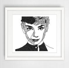 Audrey Hepburn Geometric Print Black and White