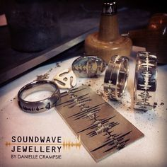 Create a one of a kind piece of jewelry using your own personal voice recording. Soundwave Rings , Dog Tag and cufflinks are being finished in the studio today! Each piece of Soundwave Jewellery is handmade and one of kind. A unique expression of an individual's mark on the world! Record your own history, Create a piece of jewelry unique to you, Express you individuality!