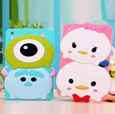 3D Cute Bear Sully Animal Cartoon Alien Stitch Soft Silicone Case Cover for iPad 2/3/4 iPad Air Air 2 iPad Mini 1 2 3 - iPad Air 2 Cases - iPad Cases