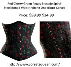 Red Cherry Green Corset, Waist Training Corsets Corset Shop, Green Corset, Wedding Corset, Plus Size Corset, Steampunk Corset, Waist Training Corset, Underbust Corset, Corsets, Cherry