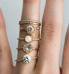 S.Kind_Vintage_Diamond_Opal_Moissanite_andSunstone_EthicallySourced_rings (1).jpg, ring stack, yellow gold, fine jewelry