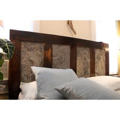 Headboard idea for spare bedroom using wood & old ceiling tins