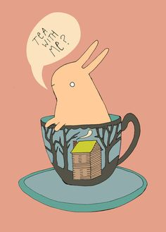 """Tea With Me?"" Super cute bunny illustration by bunnydee on Etsy."