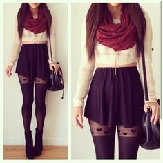 i love the skirt with the tights and the light creme crop top looks nice with the cool red scarf