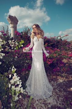 In love with this dress. Brush Train Natural Waist Sheath Lace V-neck Wedding Dress