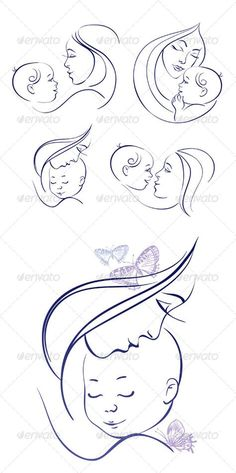 Buy Mother and Baby Icon Set by pimonova on GraphicRiver. Set of linear silhouettes of mothers and babies includes: one image of mother and baby with hand drawn butterflies, f. Mother And Baby Tattoo, Mother Son Tattoos, Baby Hand Tattoo, Tattoo For Son, Tattoos For Daughters, Mother Art, Mother And Child, Baby With Mother, Baby Tattoos