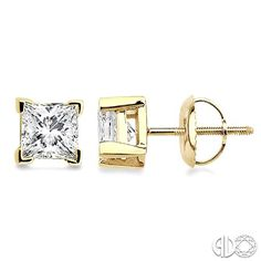 Make her feel special and pampered with these Diamond Stud Earrings showcases stunning princess cut diamonds, held securely in 4 prong setting and crafted in lustrous 14 karat yellow gold. #swansonsdiamondcenter #solitare #earrings