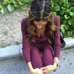 Jasmine Tosh in our burgundy jumper