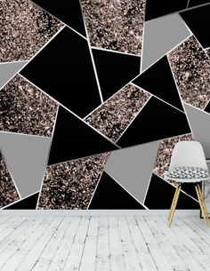 Rose Gold Geometric Glitter 1 Wall Mural / Wallpaper Abstract - what to paint - Geometric Decor Art Deco Bedroom, Bedroom Wall Designs, Accent Wall Bedroom, Accent Walls, Gold Painted Walls, Glitter Paint For Walls, Wall Painting Decor, Wall Decor, Glitter Accent Wall