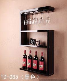 Retro Continental estante del vino de madera colgando de rack bar creativo salón de café marco copa