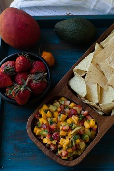 Bright fresh fruit with a surprise heat from the habanero. This Mango, Strawberry, Avocado, Habanero Salsa from A Southern Fairytale is delicious and refreshing! Mexican Food Recipes, Real Food Recipes, Yummy Food, Healthy Recipes, Healthy Meals, Mango Avocado Salsa, Fruit Salsa, Guacamole, Avocado Dishes