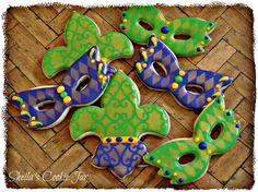 Mardi Gras cookies, mask, fleur de lis