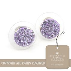 Aspire Rhinestone Purple Stud Earrings $8.59 #earrings