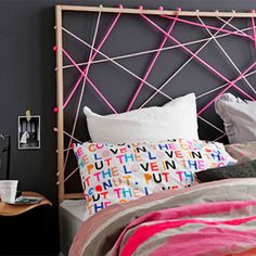 DIY rope design headboard. (via Homes)