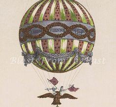 Vintage HOT AIR BALLOON Lithograph c.1804 'Modele du Ballon', Gorgeous, Perfect for Framing, Victorian, Art Nouveau