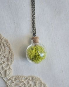 glass orb terrarium necklace by bellehibou on Etsy