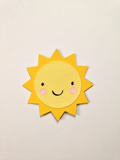 Smiley die cut sun - at 3.5 inches - perfect for scrapbook layouts - nursery wall frames - crib mobile - farm theme party - birthdays by papercameraandaction on Etsy https://www.etsy.com/listing/178525334/smiley-die-cut-sun-at-35-inches-perfect