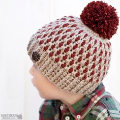 Crochet hat pattern - Speckled Ridge Beanie (Hat) by Northern Knots - Pom Pom hat - winter crochet hat - chunky crochet hat pattern - winter beanie pattern - easy crochet pattern Chunky Crochet Hat, Crochet Winter Hats, Crochet Beanie Hat, Crochet Cap, Beanie Pattern, Crochet Baby Hats, Crochet Clothes, Knitted Hats, Free Form Crochet