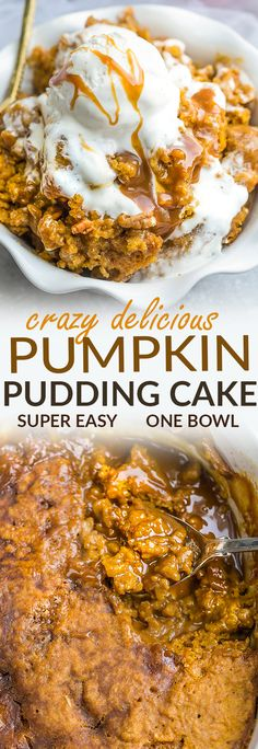 Pumpkin Pudding Cake - the perfect easy dessert for fall. Best of all, comes together easily in just one bowl with just 10 minutes of prep time. Full of cozy warm pumpkin pie spices, cinnamon and gooey pumpkin. It's like a crossover between a molten hot lava cake and pumpkin pie - so soft, moist and delicious! A delicious dessert for Thanksgiving an any fall gatherings, parties or get togethers.