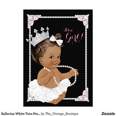 Ballerina White Tutu Pink Pearl Baby Shower 5x7 Paper Invitation Card