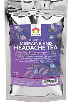 Shifa Turmeric Headache Relief Tea: Handcrafted with Herbs, Phytonutrients and Antioxidants.): Calming, soothing tea with Turmeric and herbs formulated to relieve headaches. Turmeric Tea, Organic Turmeric, Migraine Relief, Migraine Triggers, Migraine Diet, Chronic Migraines, Endometriosis, Fibromyalgia, Pain Relief