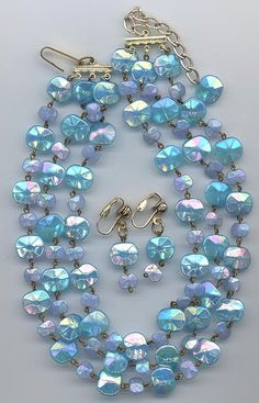 Lovely 3-strand glass necklace and earring set - opaque turquoise and periwinkle colored West German faceted rectangular beads