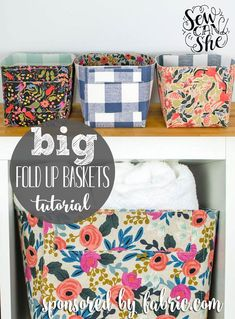 The Fat Quarter Sized Fold Up Baskets that I showed you how to make last month are helping me keep my sewing room organized by holding patterns, pom-pom trim, and an in-progress quilt! It was only a m