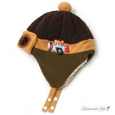 Kinder Piloten Mütze mit Teddy beige & braun