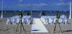 beach wedding with palm trees