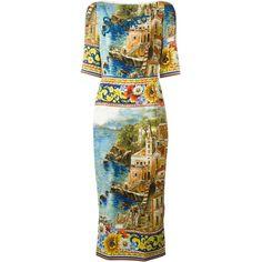 Dolce & Gabbana Carretto Siciliano Print Dress found on Polyvore featuring polyvore, women's fashion, clothing, dresses, multicolour, multi colored dress, three quarter length sleeve dresses, bateau neckline dress, multi-color dress and bateau neck dresses