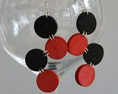 Black and Red Dot Wine Cork Earrings $11