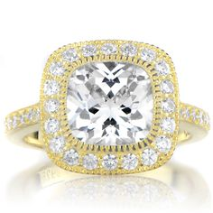Sterling Silver Vintage Style Cushion Cut CZ Engagement Ring (Size 7), Women's, Yellow