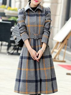 Fold-Over Collar Belt Plaid Long Sleeve Coats Girls Fashion Clothes, Girl Fashion, Clothes For Women, Winter Coats Women, Coats For Women, Fall Fashion Trends, Autumn Fashion, Chic Outfits, Fashion Outfits