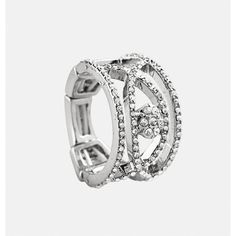 Avenue Pave Swirl Stretch Ring ($10) ❤ liked on Polyvore featuring jewelry, rings, plus size, silver, rhinestone stretch rings, cutout ring, stretch rings jewelry, druzy jewelry and rhinestone rings