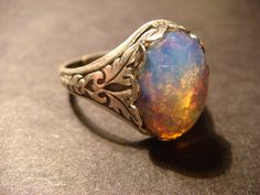 Victorian Style Fire Opal Antique Silver Ring di ClockworkAlley, $16,00