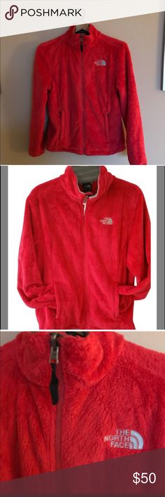 North Face red OSITO fleece jacket Northface OSITO size small women's red hoodie fleece zip up jacket. Soft and warm. Purchased at Neiman Marcus Small marking on back as pictured; feels like a high-loft, plush, fuzzy fleece blanket. Tailored waist Comfortable stretch cuffs and hem allow freedom of movement for workout or head toasty on the chairlift.  MSRP:   $110 + tax COLOR: High Risk Red 100% Polyester Extremely soft, fuzzy silken fleece jacket Relaxed fit. Fixed hood Two secure-zip hand…
