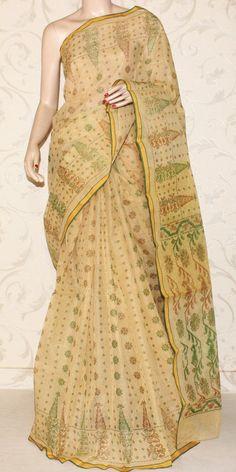 Bengal Handloom Tant Saree (Block Printed) 13184 Indian Look, Indian Wear, Handloom Saree, Silk Sarees, Sweets Online, Kutch Work, Cotton Sarees Online, Saree Dress, Saree Styles