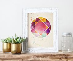 Gemstone Water Color Wall Art Geometric Art Print by pickApixel