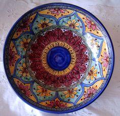Ciotola / Spaghettiera / Insalatiera in ceramica dipinta  a mano.Dec Geo/Floris