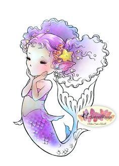 digital stamp instant download happy little mermaid mermaid with perky tail fantasy