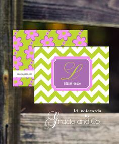 monogram personalized stationery ... classic children notecards in bright colors and bold patterns ... on Etsy ...