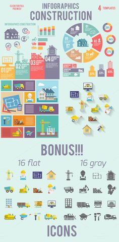 4 vector construction infographics by Macrovector on Creative Market